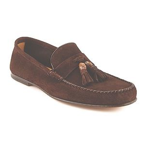 GUCCI - Suede Bamboo Tassel Moccasins Brown, 36